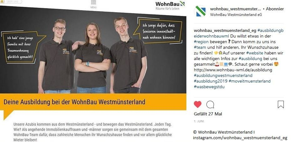 WohnBau Westmünsterland eG: Mit Fotos zum Azubi
