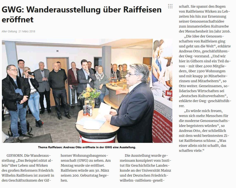 Raiffeisen-Jahr 2018: GWG Gifhorn präsentierte Wanderausstellung